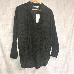ZARA Snake print NWT long sleeve button down